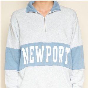 Brandy Melville Newport zip up sweater shirt top